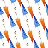 与伞的秋天无缝的样式,水彩例证 免版税库存照片