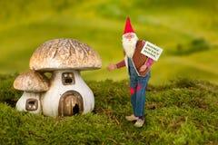 与伞菌的庭院地精 免版税库存照片