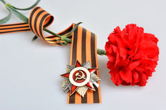 与伟大的爱国,红色康乃馨定货的圣乔治丝带  免版税图库摄影