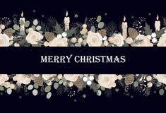 与传染媒介圣诞树分支的横幅、玫瑰和蜡烛和空间文本的 库存例证