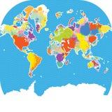 与传染媒介泼溅物的五颜六色的世界地图 免版税库存照片