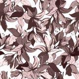 与传染媒介花的棕色装饰品的花卉背景 您的设计、瓦片和织品的不尽的纹理 库存例证
