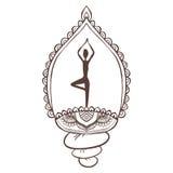 与传染媒介瑜伽的装饰品美丽的卡片 免版税图库摄影