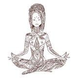 与传染媒介瑜伽的装饰品美丽的卡片 免版税库存照片