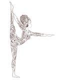 与传染媒介瑜伽的装饰品美丽的卡片 图库摄影
