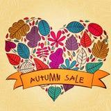 与传染媒介的季节性秋天销售背景 免版税图库摄影