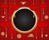 与传统亚洲装饰和金元素的农历新年2019红色贺卡模板在红色背景 库存例证