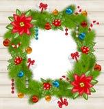 与传统元素的圣诞节框架在木背景 库存图片