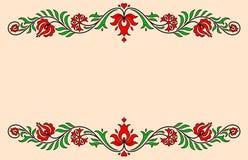 与传统匈牙利花卉动机的葡萄酒标签 免版税库存图片