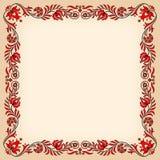 与传统匈牙利花卉动机的葡萄酒框架 图库摄影