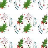 与传统手拉的圣诞节元素的水彩无缝的样式 对季节设计,印刷品,包装纸 免版税库存照片