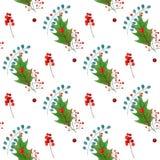 与传统手拉的圣诞节元素的水彩无缝的样式 对季节设计 免版税库存照片