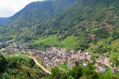 与传统村庄的著名谷 免版税库存照片
