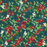 与传统欢乐花-圣诞节星的无缝的深绿样式 免版税图库摄影