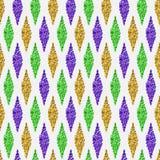 与传统狂欢节无缝的样式的白色背景与金子,绿色,黄色和紫罗兰色颜色,尘土五彩纸屑 免版税库存照片