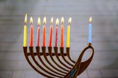 与传统的menorah的光明节 库存照片