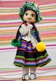 与传统秘鲁衣裳的手工制造色的木偶 库存照片
