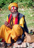 与传统被绘的面孔,尼泊尔的Sadhu 库存图片
