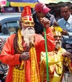 与传统被绘的面孔,尼泊尔的Sadhu 图库摄影