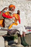 与传统被绘的面孔,尼泊尔的Sadhu 免版税库存图片