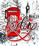 与伦敦的一个风格化图象的例证,大笨钟和红色电话亭有题字的打电话 免版税库存照片