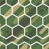 与伪装样式的无缝的传染媒介背景 军事颜色 颜色的绿色橄榄范围 免版税库存照片