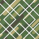 与伪装样式的无缝的传染媒介背景 军事颜色 颜色的绿色橄榄范围 库存图片