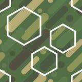 与伪装样式的无缝的传染媒介背景 军事颜色 颜色的绿色橄榄范围 免版税库存图片