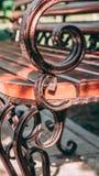 与伪造在游乐场的金属艺术的长木凳 在自然绿色背景的布朗长凳  免版税库存照片