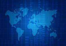 与位于黑暗和数字的世界地图的滤网 库存例证