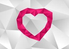 与低多作用墙纸的桃红色心脏 免版税库存图片