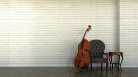 与低音提琴的内部场面 免版税库存照片