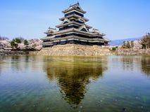 与佐仓开花,马塔莫罗斯,日本1的马塔莫罗斯城堡 库存图片