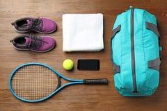 与体育袋子的平的位置构成 库存照片