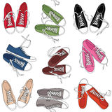 与体育运动鞋子的模式 免版税库存图片