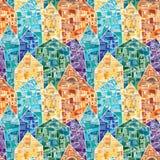 与作为与许多几何细节的马赛克装饰的五颜六色的房子的无缝的传染媒介样式 库存例证
