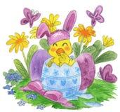 逗人喜爱的复活节小鸡水彩 库存图片