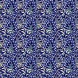 与佩兹利鞋带的传染媒介无缝的花卉样式 抽象蓝色背景 皇族释放例证