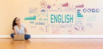 与使用便携式计算机的少妇的英语 免版税库存照片