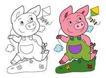 与使用的猪的动画片场面跑和拿着风筝-在与着色页的白色背景 图库摄影