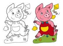 与使用的猪的动画片场面跑和拿着风筝-在与着色页的白色背景 免版税库存照片