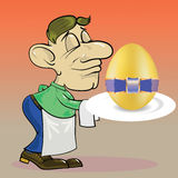 侍者和复活节彩蛋 库存例证