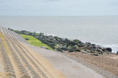与侵蚀防御的海岸地区 库存照片