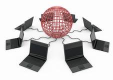 与便携式计算机的全球资讯网 库存照片