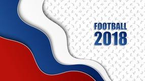 与俄国国旗颜色的足球背景和differen 库存例证