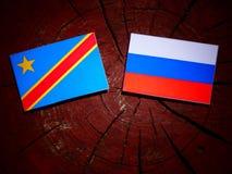与俄国旗子的刚果民主共和国旗子在tre 库存图片