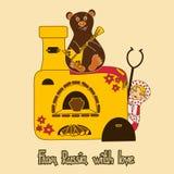 与俄国玩偶和烤箱的背景 免版税库存照片
