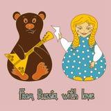 与俄国玩偶和熊的背景 免版税库存照片