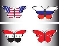 与俄罗斯、美国、叙利亚和土耳其的旗子的Butterflis 免版税库存图片