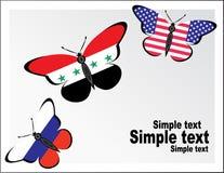 与俄罗斯、美国和叙利亚的旗子的Butterflis 免版税库存图片